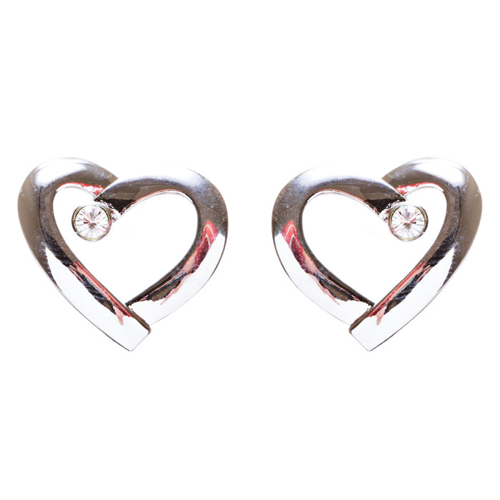 Valentines Jewelry Crystal Rhinestone Chic Open Heart Earrings E927 Silver
