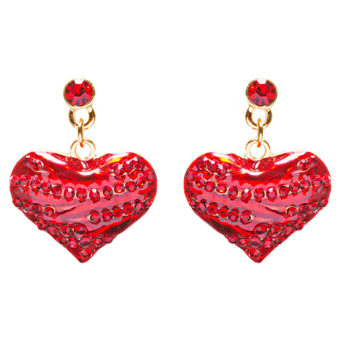 Valentines Jewelry Crystal Rhinestone Pretty Hearts Dangle Earrings E929 Red