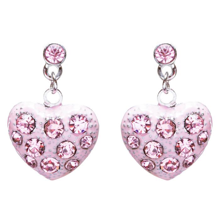 Valentines Jewelry Crystal Rhinestone Darling Heart Dangle Earrings E930 Pink