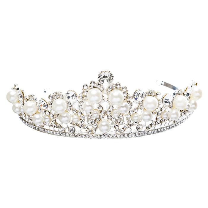 Bridal Wedding Jewelry Crystal Rhinestone Classic Faux Pearl Tiara H172 Silver