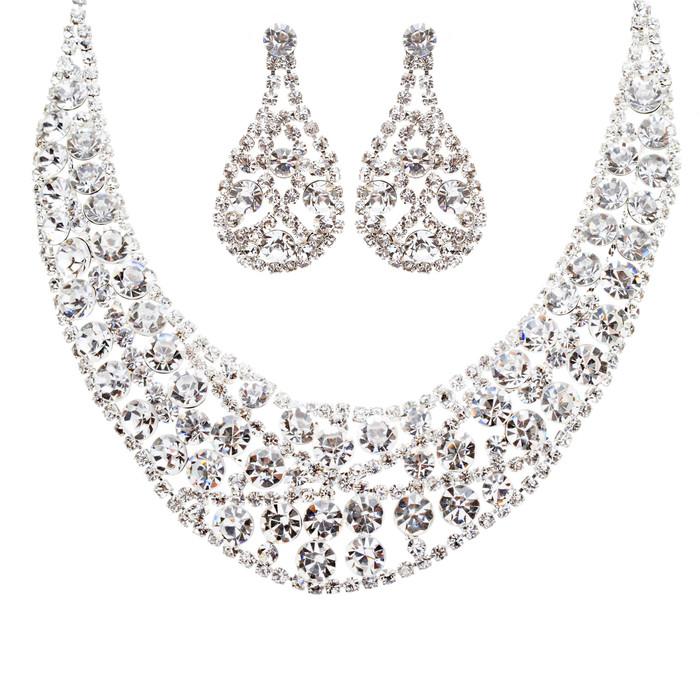 Bridal Wedding Jewelry Crystal Rhinestone Exquisite Lustrous Necklace J493 SLV