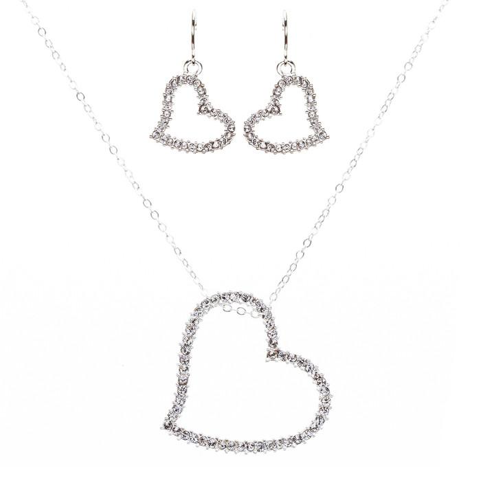 Adorable Crystal Rhinestone Precious Hear Valentine'sDay Necklace J495 Silver