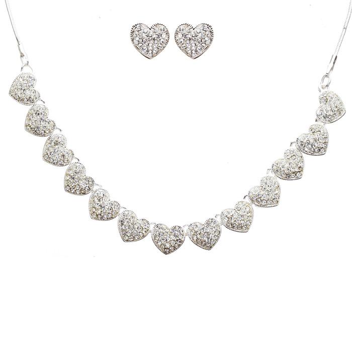 Beautiful Valentine's Crystal Rhinestone Fascinating Little Hearts Set J496 SLV