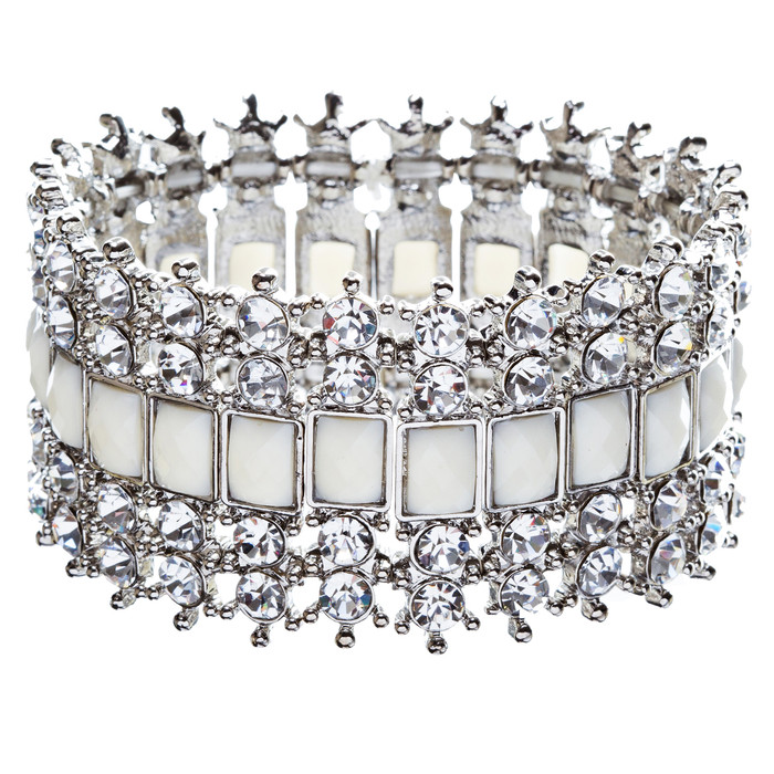 Crystal Stretch Cuff Vintage Fashion Bracelet White