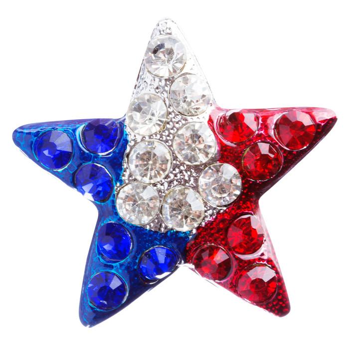 Patriotic Jewelry Crystal Rhinestone Fascinating Star Design Pin BH109 Silver
