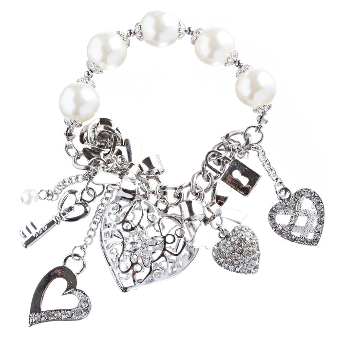 Valentine's Day Jewelry Crystal Rhinestone Adorable Heart Charm Bracelet B291 SV