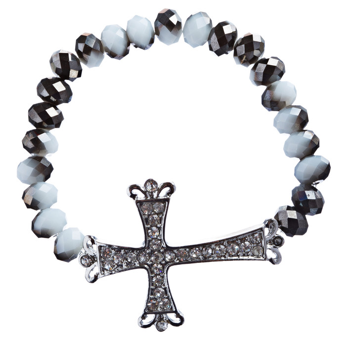 Cross Jewelry Crystal Rhinestone Vintage Design Cross Stretch Bracelet B501 BLK