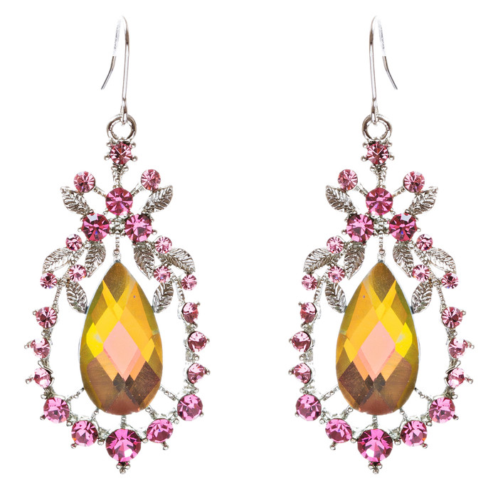 Modern Fashion Crystal Rhinestone Dazzling Tear Drop Dangle Earrings E75 Multi
