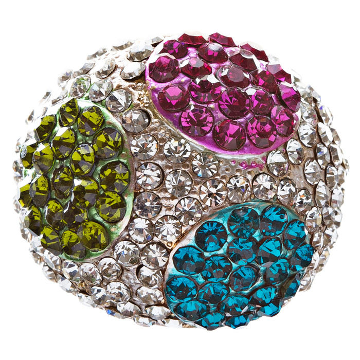 Elegant Finish Crystal Pave Dome Round Stretch Multi-colored Ring R73 MT