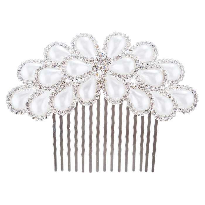 Bridal Wedding Jewelry Crystal Pearl Gorgeous Decorative Hair Comb H181 Silver
