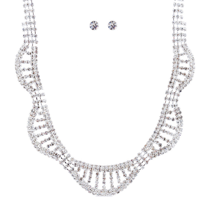 Bridal Wedding Jewelry Crystal Rhinestone Bib Design Necklace Set J681 Silver
