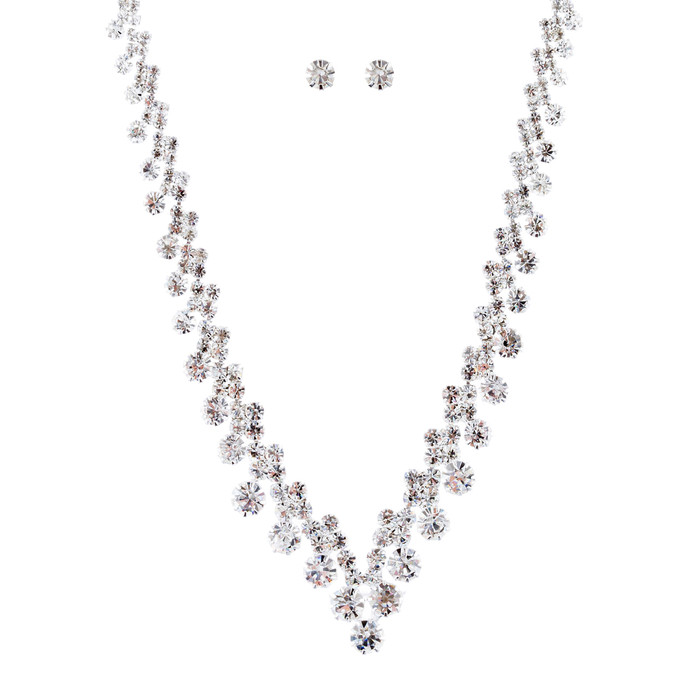 Bridal Wedding Jewelry Crystal Rhinestone Chic V Drop Necklace Set J687 Silver