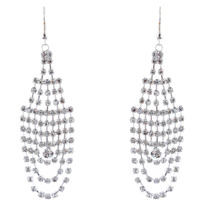 Bridal Wedding Jewelry Crystal Rhinestone Dazzling Drape Dangle Earrings E984 SV