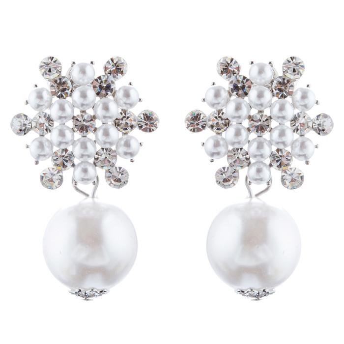 Bridal Wedding Jewelry Crystal Rhinestone Pearl Floral Dangle Earrings E987 SV