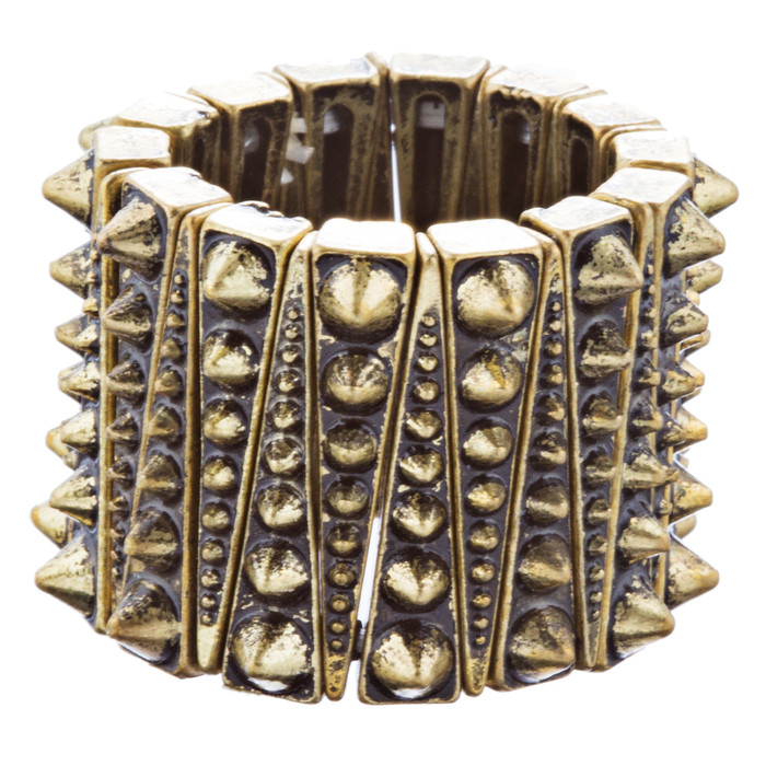 Chic Trendy Wide Spike Design Fashion Stretch Ring R223 Antique Gold