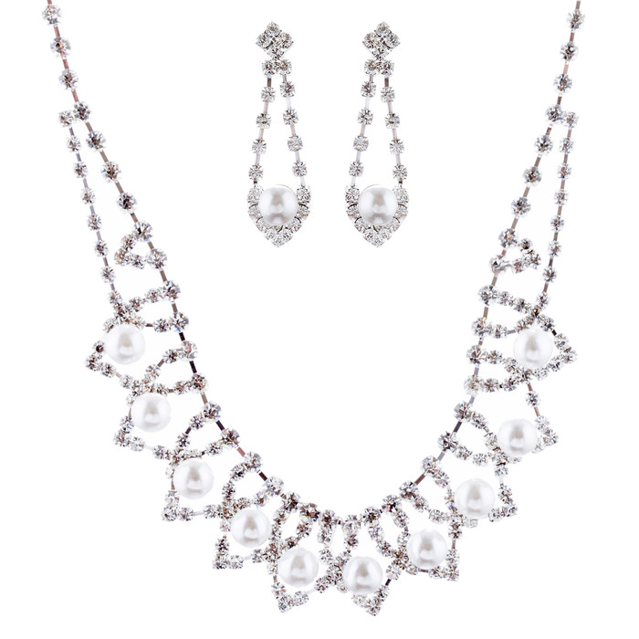 Bridal Wedding Jewelry Crystal Rhinestone PearlStylish Drop Necklace Set J675 SV