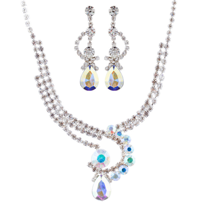 Bridal Wedding Jewelry Crystal Rhinestone Gorgeous Chic Necklace Set J691 Silver