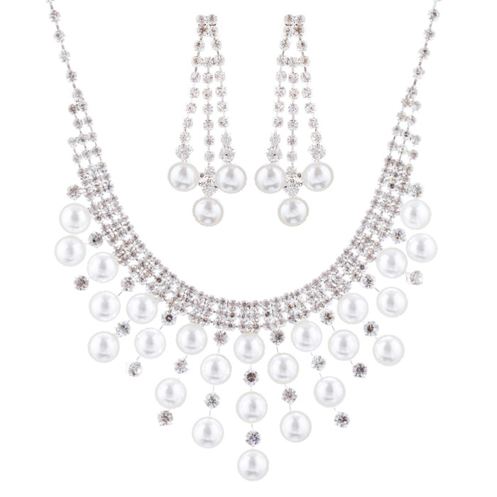Bridal Wedding Jewelry Crystal Rhinestone Pearl Lovely Design Necklace J696 SV