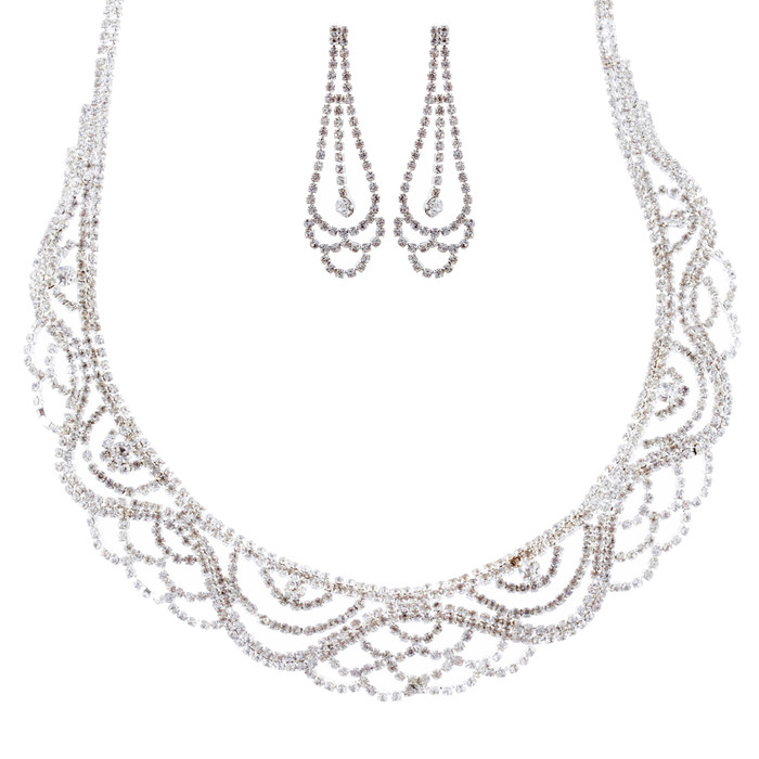 Bridal Wedding Jewelry Crystal Rhinestone Striking Classy Necklace Set J697 SV