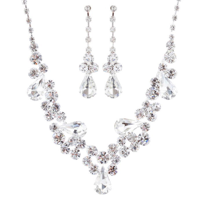 Bridal Wedding Jewelry Crystal Rhinestone Gorgeous Design Necklace Set J699 SV