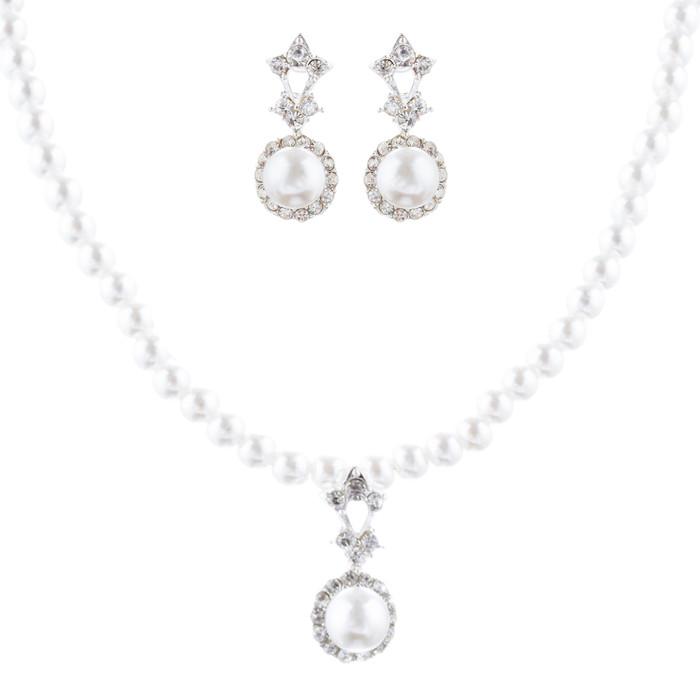 Bridal Wedding Jewelry Crystal Rhinestone Pearl Adorable Necklace Set J705 SV