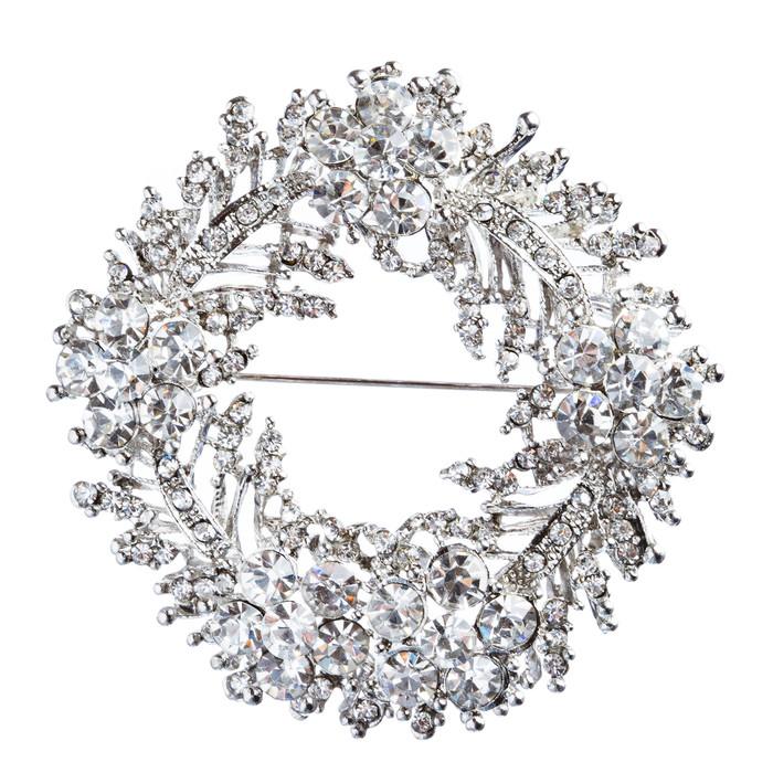 Bridal Wedding Jewelry Crystal Rhinestone Flower Round Brooch Pin BH171 Silver