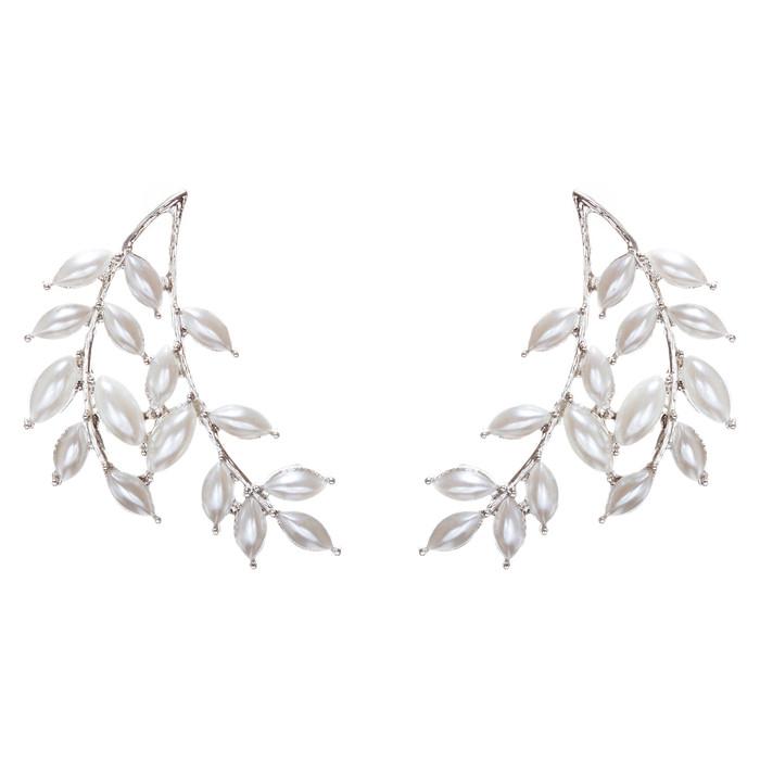 Bridal Wedding Jewelry Prom Pearl Adorable Fashion Earrings E953 Silver