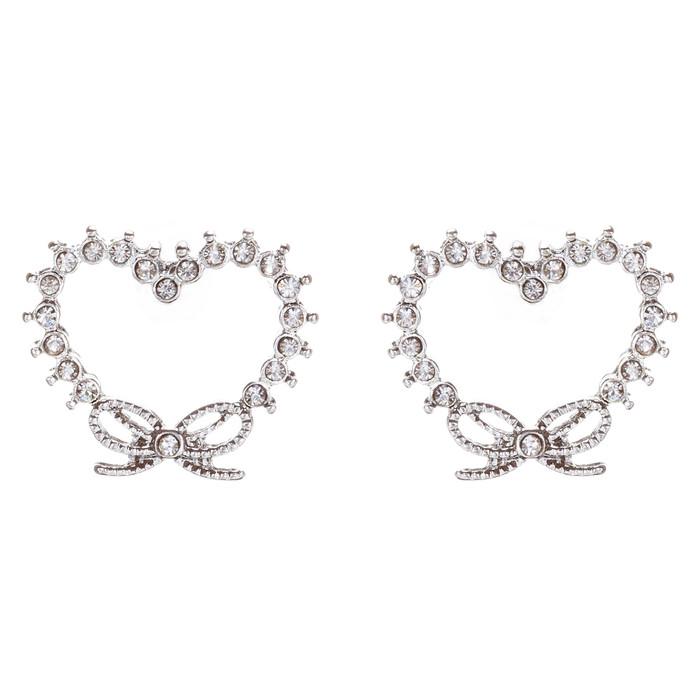 Valentines Jewelry Wedding Heart Ribbon Charm Stud Style Earrings E956 Silver