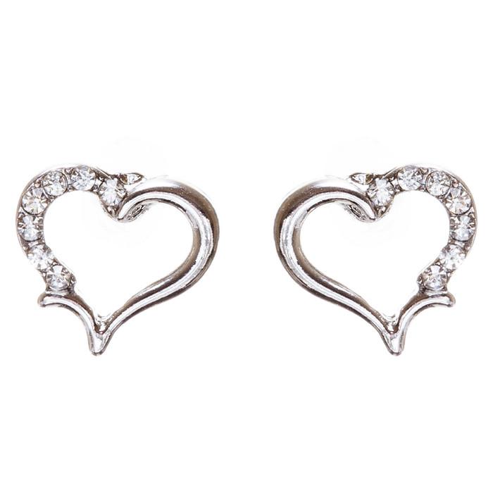 Valentines Jewelry Wedding Romantic Heart Charm Stud Style Earrings E957 Silver