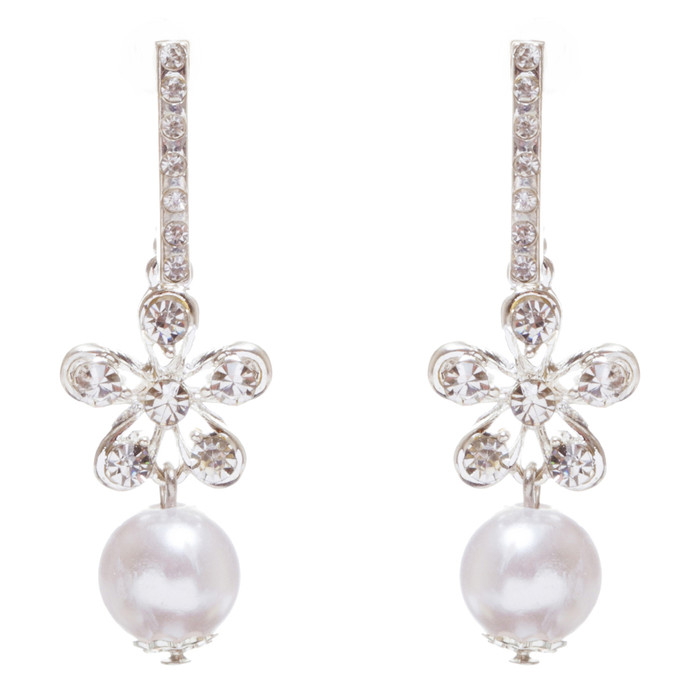 Bridal Wedding Jewelry Crystal Rhinestone Pearl Floral Dangle Earrings E958 SV