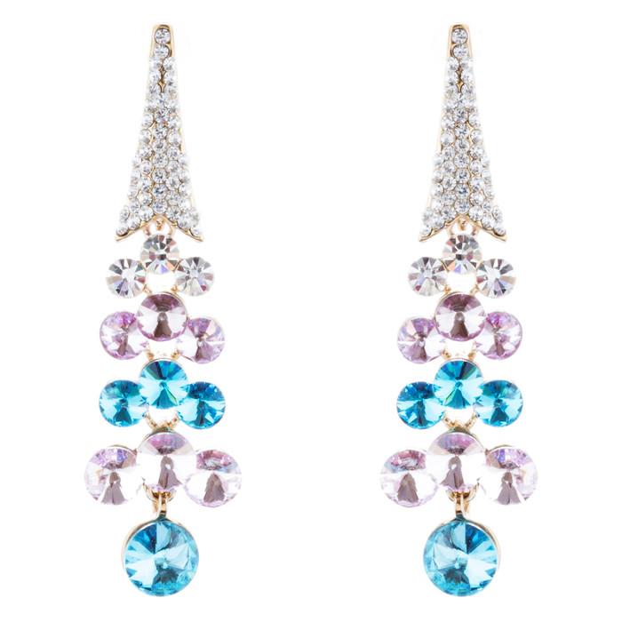 Dressy Beautiful Sparkle Crystal Rhinestone Dangle Fashion Earrings E966 Blue
