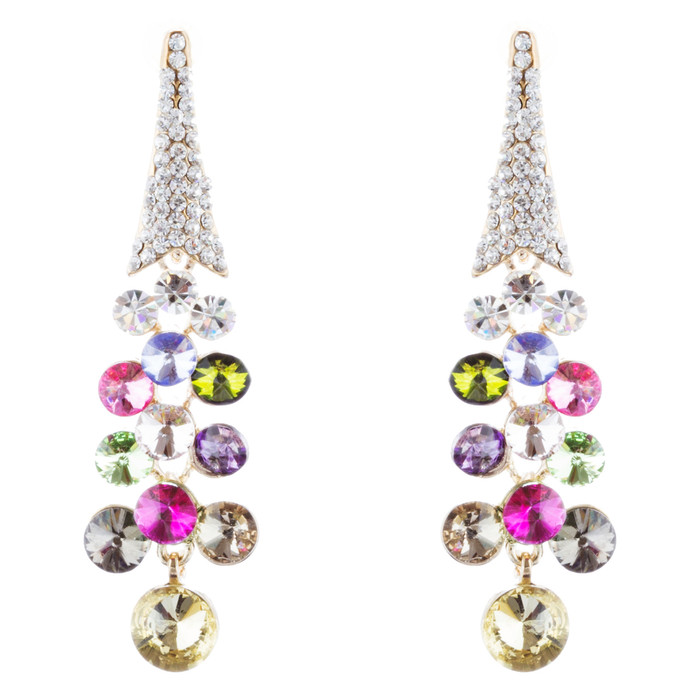 Dressy Beautiful Sparkle Crystal Rhinestone Dangle Fashion Earrings E966 Multi