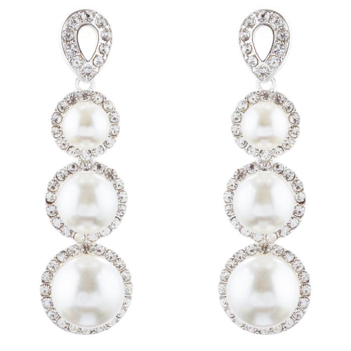 Bridal Wedding Jewelry Crystal Rhinestone Pearl Linear Drop Earrings E976 Silver
