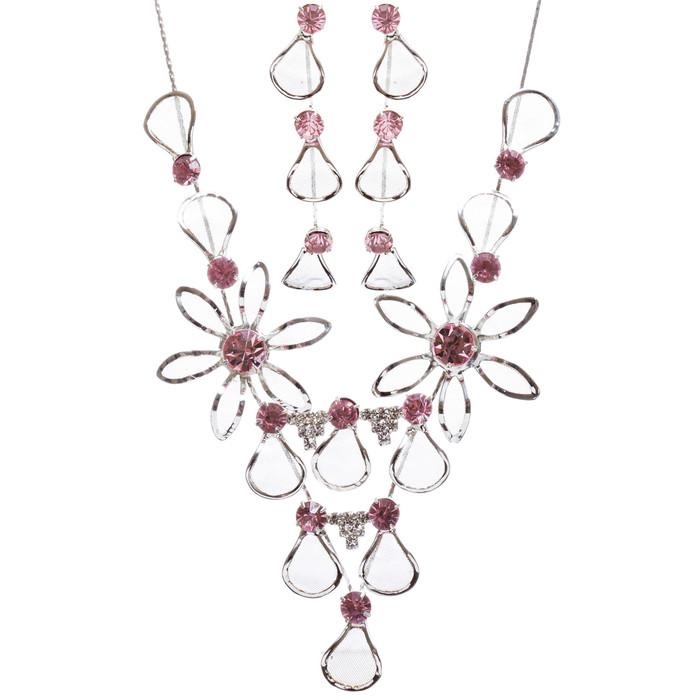 Bridal Wedding Jewelry Prom Rhinestone Adorable Mesh Necklace Set J657 Pink