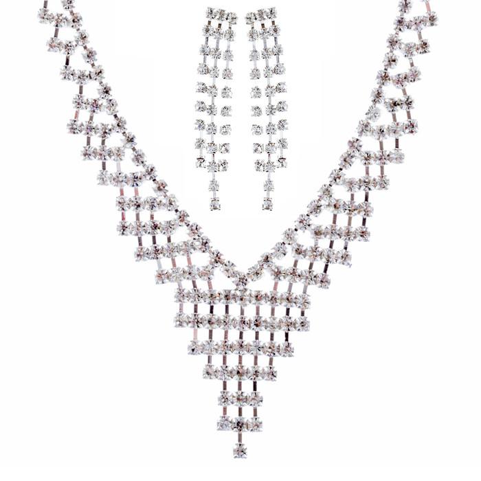 Bridal Wedding Jewelry Crystal Rhinestone Dazzle V Drop Necklace Set J661 Silver