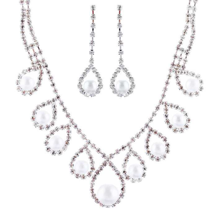 Bridal Wedding Jewelry Rhinestone Pearl Teardrop Dangles Necklace Set J665 SV