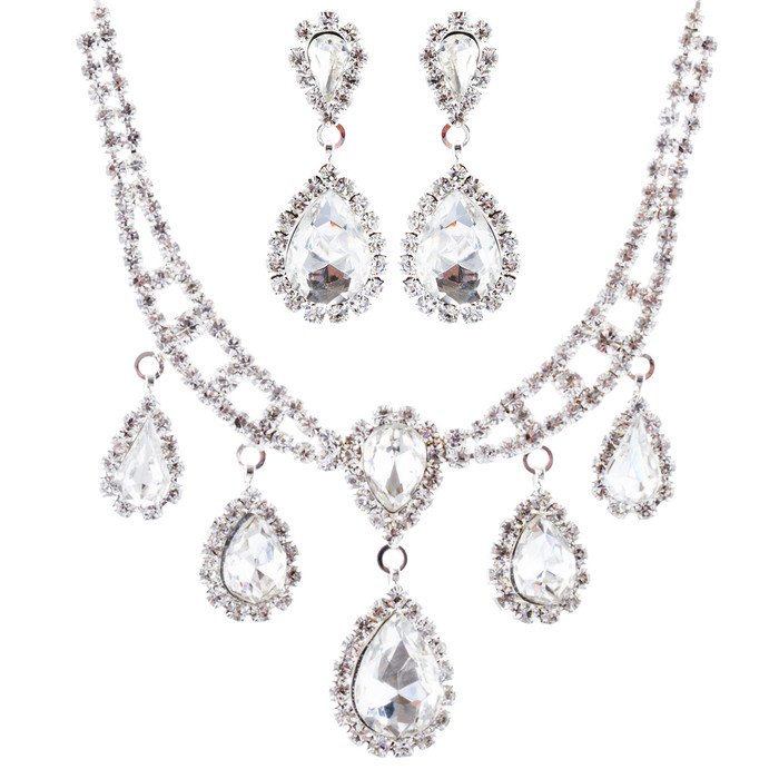 Bridal Wedding Jewelry Crystal Rhinestone Teardrop Links Necklace Set J668 Silve