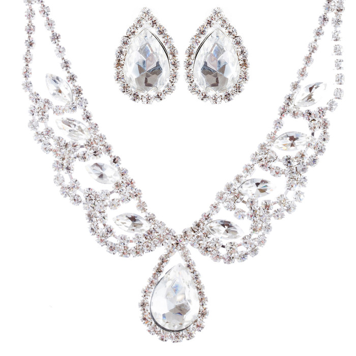 Bridal Wedding Jewelry Crystal Rhinestone Gorgeous Teardrop Necklace Set J670 SV