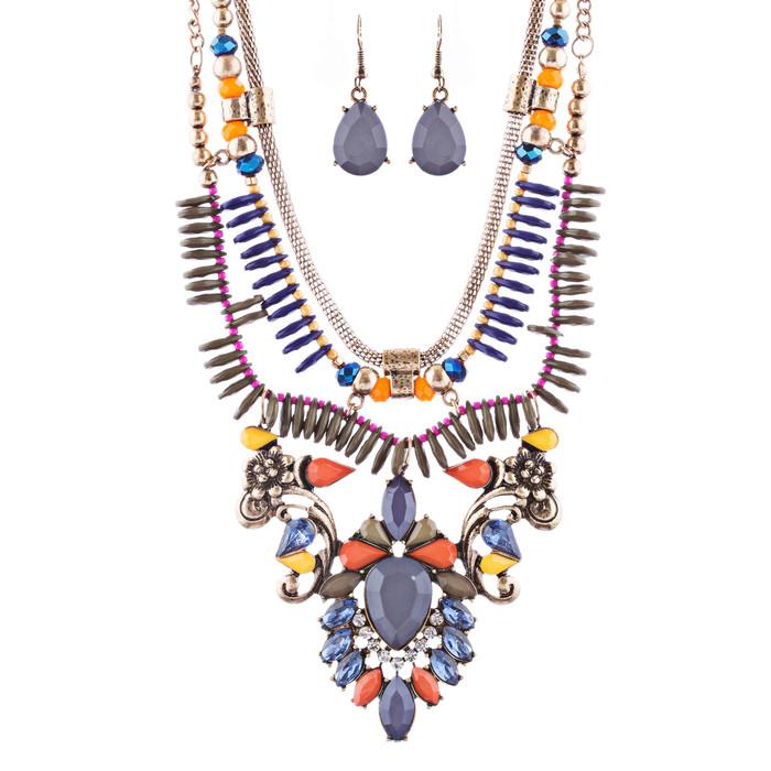 Stunning Magnificent Bead Crystal Rhinestone Statement Necklace Set JN269 Gray