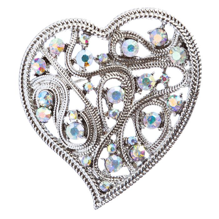 Valentine's Day Jewelry Crystal Rhinestone Elegant Curve Heart Pin B161 Silver