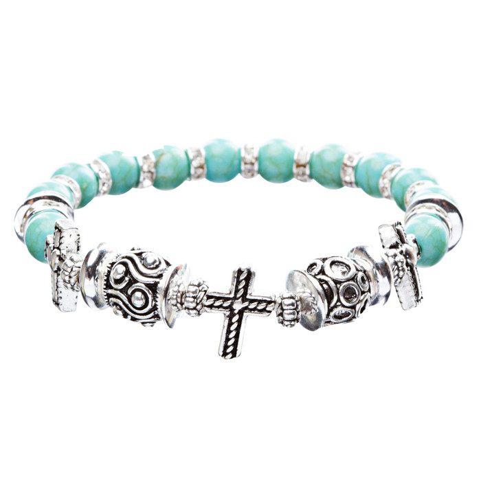 Cross Jewelry Crystal Rhinestone Fascinating Stretch Bracelet B463 Turquoise