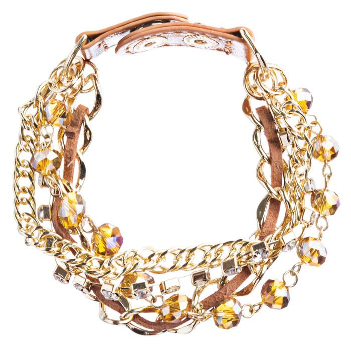 Modern Fashion Crystal Rhinestone Gorgeous Multi Layered Bracelet B464 Brown