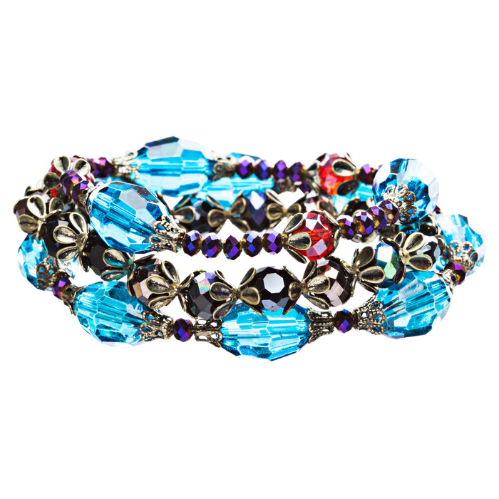 Modern Fashion Crystal Rhinestone Vibrant Fun Wrap Stretch Bracelet B465 Blue