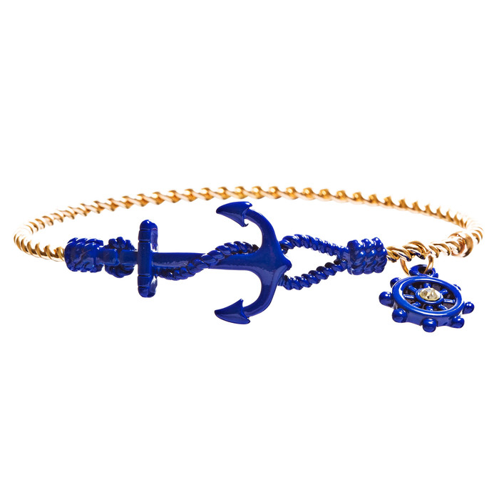 Nautical Fashion Crystal Rhinestone Symbolic Shiny Anchor Bracelet B497 Blue