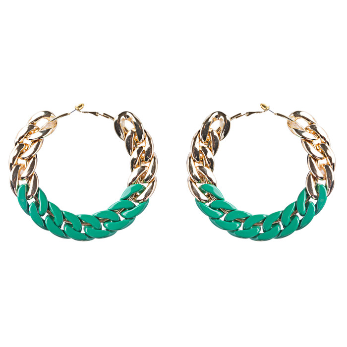 Modern Fashion Lovely Two Tone Intertwined Chain Links Hoop Earrings E779 Green