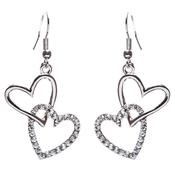 Adorable Chic Valentine Theme Crystal Rhinestone Heart Dangle Earrings E905 SVR