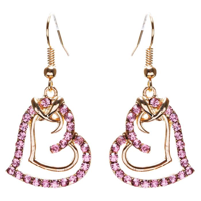 Charming Valentine Theme Fashion Crystal Rhinestone Heart Earrings E906 Pink