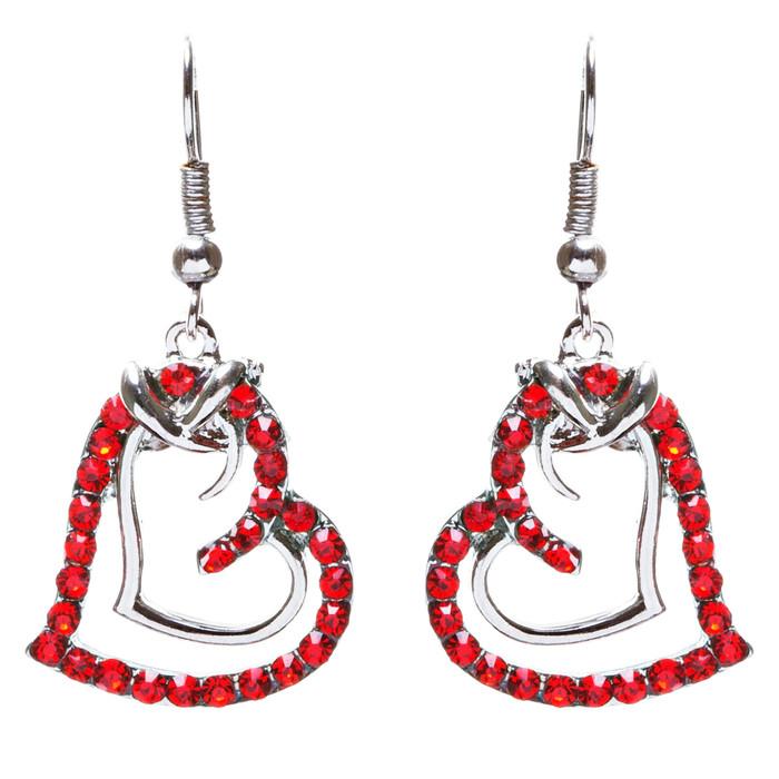 Charming Valentine Theme Fashion Crystal Rhinestone Heart Earrings E906 Red