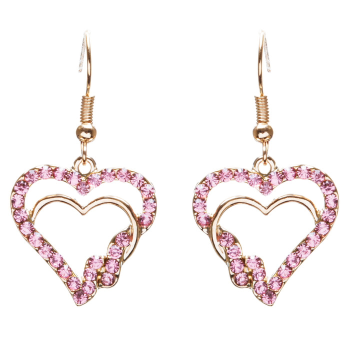 Valentines Jewelry Beautiful Crystal Rhinestone Hearts Earrings E907 Pink