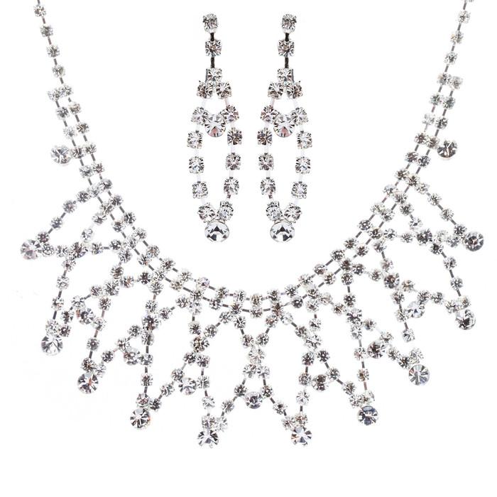 Bridal Wedding Jewelry Crystal Rhinestone Stunning Intertwined Necklace J565 SLV
